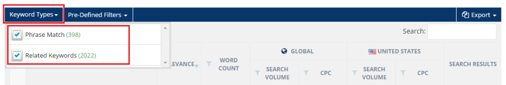 Long-tail Keyword research tool filter by phrase and related