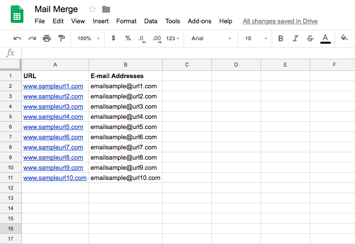 Google Sheets - Mail Merge