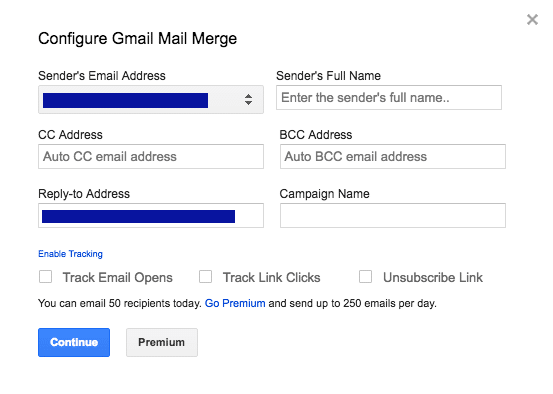 Configure Gmail Mail Merge