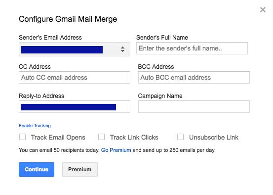 Configure Gmail Mail Merge
